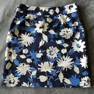 Rafaella Skirts - Rafaella Blue White Floral A Line Skirt